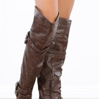 Vickie-16h Brown Buckle Thigh Riding Boots   MakeMeChic.com