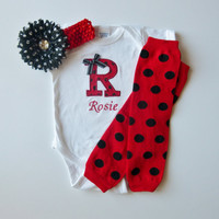 Monogram Onesuit Baby Girl Gift Set With Leg Warmers and Polka Dot Flower Hairbow Ladybug Red and Black Set