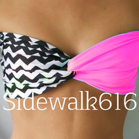 Hot Pink Chevron Bandeau Top Spandex Bandeau Bikini Swimsuit