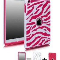 COMBO! Jersey Bling® Zebra Hybrid 2 Piece Fusion, Protector, Defender Ipad Mini Case Cover with 1 Stylus Touch pen (White with Hot Pink)