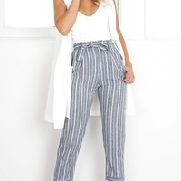 I Belong With You pants in grey stripe Produced By SHOWPO