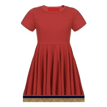 Toddler Girls Short Sleeve Red Dress With Fringes