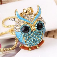 Lemon Value New Fashion Statement Rhinestone Owl Pendants Vintage Charms Crystal Maxi Punk Long Necklaces Women Jewelry A073