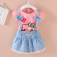 Dress and Shirt Hello Kitty Combo Bow tie Kids Girls Clothes Toddler Trendy Cute outfit