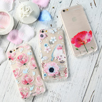 Caseier For iPhone 7 6 6S Plus 5 5S SE Case Flower Transparent Relief Phone Cover For Samsung Galaxy S6 S7 Edge Silicon Fundas