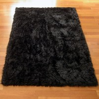 "Classic Black Bear Faux Fur Rectangle Rug - NEW Made in France (2x4 (actual 27"" x 43""))"