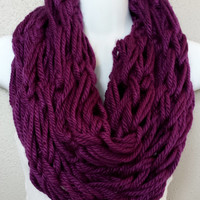 Orchid Arm Knitted Infinity Scarf Orchid Knit Scarf Chunky Fall Scarves Loop Knitted Scarf Arm Knit Cowl