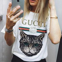 GG sequined cat round neck short-sleeved T-shirt