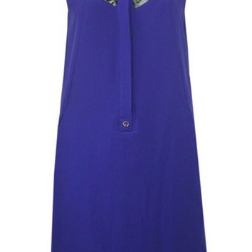 Royal Blue Lace Panel Chiffon Dress