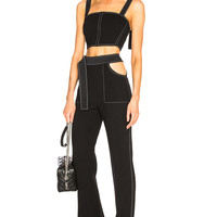 David Koma Contrast Stitching Waistband Cutout Trousers in Black & White | FWRD