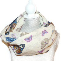 Spring Infinity Scarf with Butterfly beige  / Loop Scarf Patchwork / Infinity Cowl beige - UNIQUE
