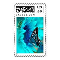Black & Blue Butterfly Postage Stamps