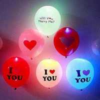 12inch Flash Light Glow 5Pcs Led Balloons 2016 Event Party Supplies Heart Wedding Birthday Decoration