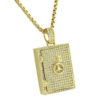 "Safety Vault Lock Pendant Fully Iced Out 14K Yellow Gold Finish Stainless Steel 24"" Box Necklace"