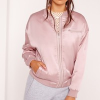 Missguided - Satin Zipped Bomber Jacket Lilac