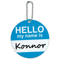 Konnor Hello My Name Is Round ID Card Luggage Tag