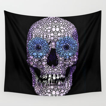 Skull Art - Day Of The Dead 2 Stone Rock'd Wall Tapestry by Sharon Cummings