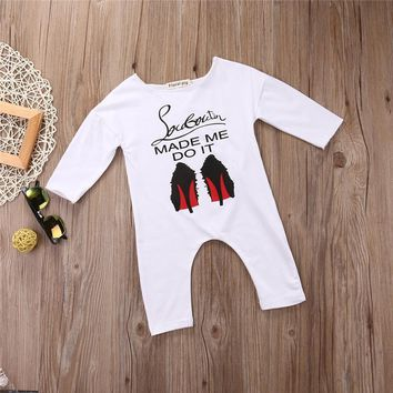 Funny Newborn Baby Girl Boy Clothes Clothing Cotton Long Sleeve Shoes Printed Romper