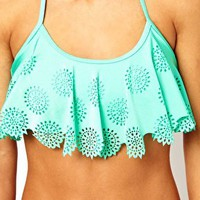 ASOS Laser-cut Floaty Bikini Crop Top at asos.com