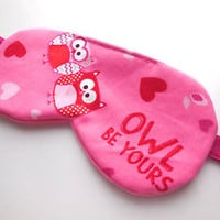 Sleep Eye Mask for Her Pink Owls Hearts Blindfold Fleece Shade Cover Night Nap