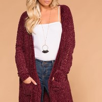 Melody Burgundy Chenille Knit Pocket Cardigan