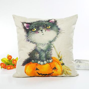 1pc Happy Halloween Cushion Cover Letter Pumpkin Pattern Throw Pillow Case Sofa Home Decorative Pillow Cover 45*45cm #11030