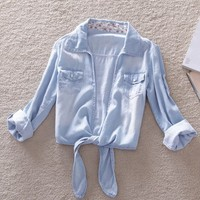 Light Blue Denim Blouse on Luulla