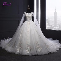 Fmogl Graceful Appliques Lace Ball Gown Princess Wedding Dress 2018 Luxury Beaded Vintage Bridal Gown Robe De Mariage Plus Size