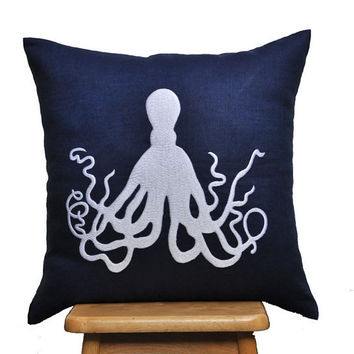 $22.00 White OctopusThrow Pillow Cover 18 x 18 Navy Blue Linen by KainKain