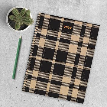 Simple Plaid Large Weekly Monthly Planner + Coordinating Planning Stickers