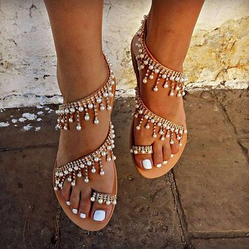 Women's large size handmade beaded flat sandals shoes