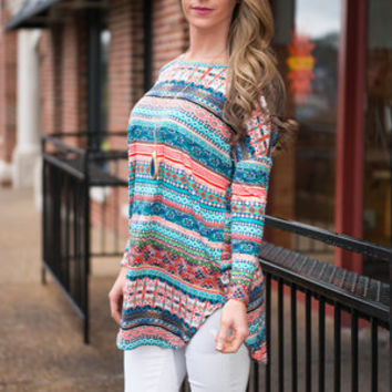 Crafty To Be Here Tunic, Teal