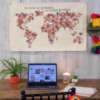 Floral Map Canvas Wall Hanging