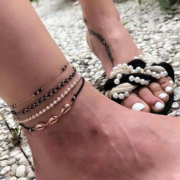 Colorful Bead Anklet Braceklt Sets Shell Sandals Foot Leg Chain Adjustable Jewelry