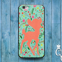 iPhone 4 4s 5 5s 5c 6 6s plus + iPod Touch 4th 5th 6th Gen Cover Case Cute Baby Deer Floral Colorful Pink Green Fun Girly Animal Rubber Cool