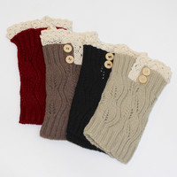 Short Leg Warmers with Buttons + Lace