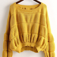 Solid Color Pleated Sweater Pullover