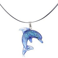 """Sterling Silver Dichroic Glass Blue Dolphin Lampwork Pendant Necklace on Stainless Steel Wire, 18"""""""