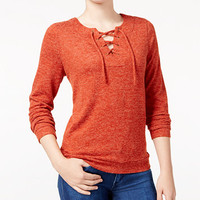 Hippie Rose Juniors' Lace-Up Marled Knit Top | macys.com