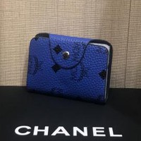 MCM Fashion new more letter print women and men shopping small wallet bag Blue