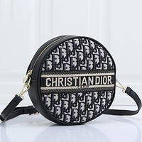 Dior CD Classic Fashion Lady Zipper Round Bag Shoulder Messenger Bag
