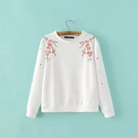 Women fashion winter floral Embroidery Sweatshirt 2016 Autumn new tops female Casual basic Hoodie #R912