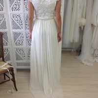 Stunning boat neck lace wedding dress with beautiful capped sleeves and dreamy soft silk chiffon skirt