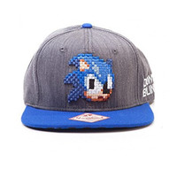 Sonic the hedgehog pixel face new Official Sega Snapback Baseball Cap