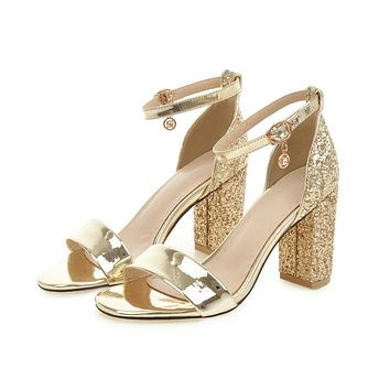 Ankle Straps Chunky Heel Sandals with Sequined