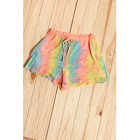 Neon Pink Banded Tie Dye Relaxed Elastic Shorts
