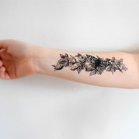 Temporary Tattoo Butterfly Plant - Flowers, Floral, Butterflies, Black, Large