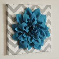 """MOTHERS DAY SALE Wall Flower - Dark Turquoise Dahlia on Gray and White Chevron 12 x12"""" Canvas Wall Art- 3D Felt Flower"""