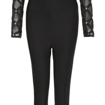 'Richie' Mesh Bandage Jumpsuit - Black
