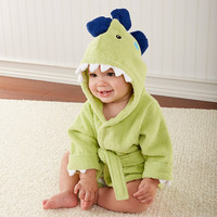 "Baby Aspen ""Splash-a-saurus"" Dinosaur Hooded Spa Robe 0-9 months"